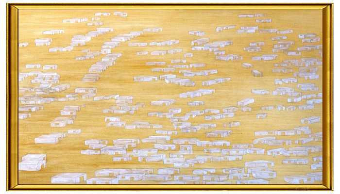 <p>Nowhere #13 Gold paint, pencil and white acrylic on canvas 140 x 140 cm, 2014</p>